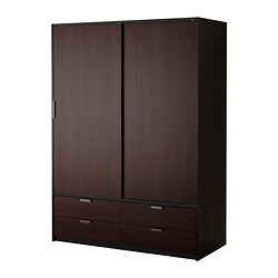 TRYSIL wardrobe w sliding doors/4 drawers, black, dark brown Width: 154 cm Depth: 60 cm Height: 205 cm