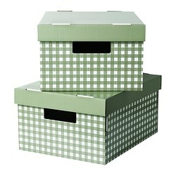 PINGLA box with lid, green Width: 28 cm Depth: 37 cm Height: 18 cm