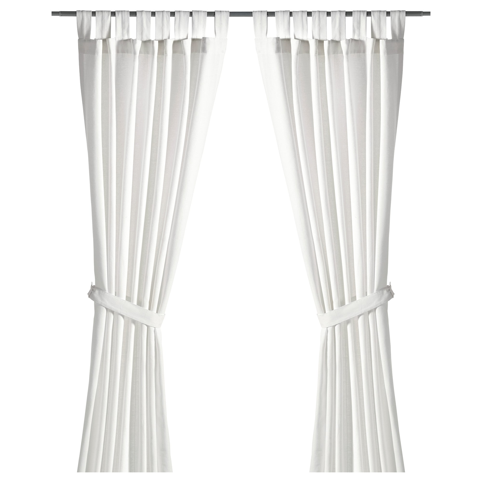 Lenda Curtains With Tie Backs 1 Pair Bleached White Ikea
