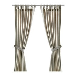 LENDA curtains with tie-backs, 1 pair, light beige Length: 300 cm Width: 140 cm Weight: 1.00 kg