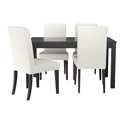 BJURSTA /  HENRIKSDAL table and 4 chairs, Gobo white, brown-black Length: 180 cm Min. length: 140 cm Max. length: 220 cm