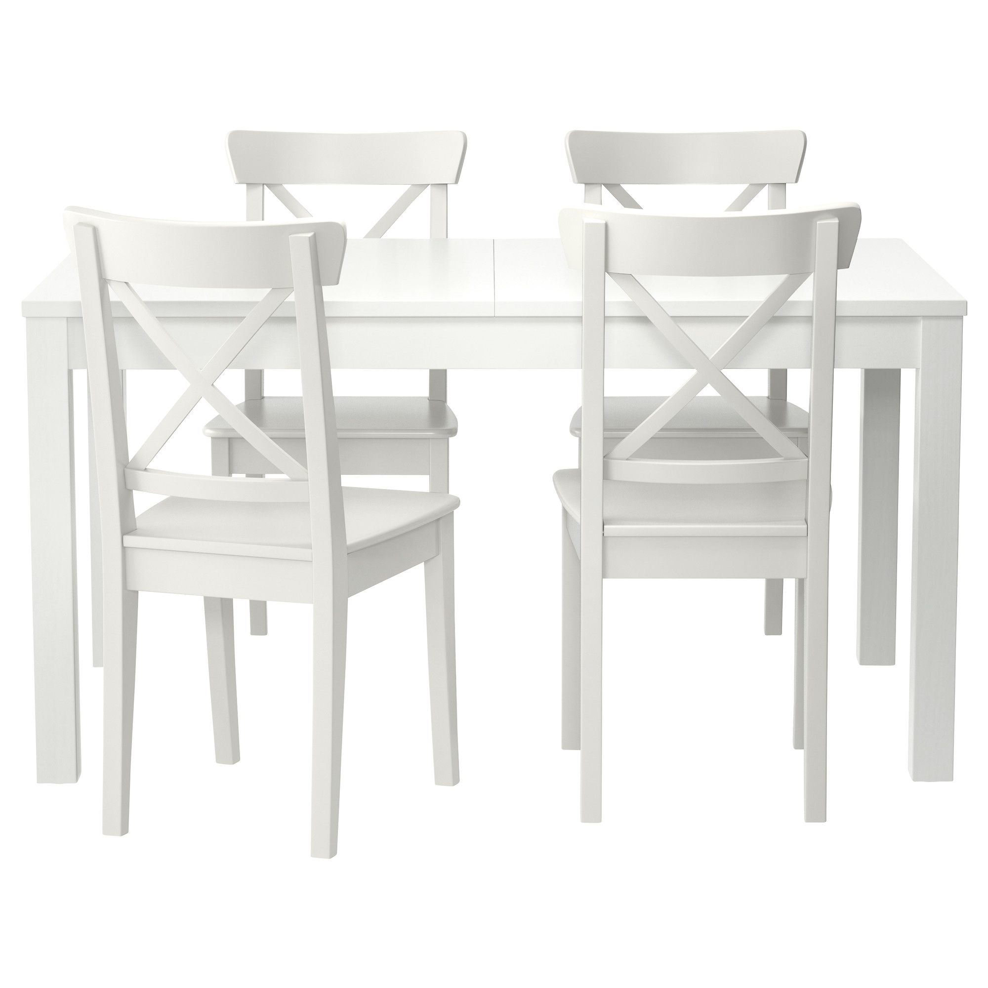 ikea white dining table and 4 chairs