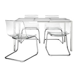 TORSBY /  TOBIAS table and 4 chairs, transparent, glass white Length: 135 cm Width: 85 cm Height: 73 cm