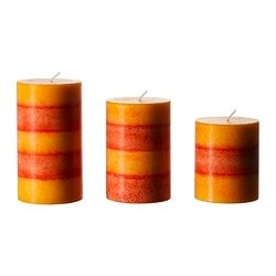 RANDIG scented block candle, set of 3, orange