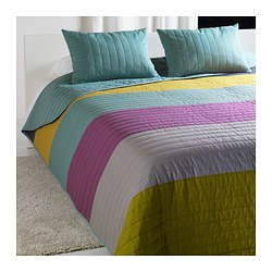 MALIN bedspread and 2 cushion covers, multicolour Bedspread length: 280 cm Bedspread width: 260 cm Cushion cover length: 40 cm