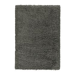GÅSER rug, high pile, dark grey