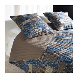 "FRÄKEN bedspread and 2 cushion covers, brown, blue Bedspread length: 110 "" Bedspread width: 102 "" Cushion cover length: 26 "" Bedspread length: 280 cm Bedspread width: 260 cm Cushion cover length: 65 cm"