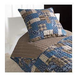 FRÄKEN bedspread and cushion cover, brown, blue Bedspread length: 280 cm Bedspread width: 180 cm Cushion cover length: 65 cm