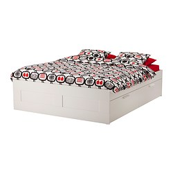 "BRIMNES bed frame with storage, white Height of drawer (inside): 7 7/8 "" Length: 76 3/4 "" Width: 55 1/2 "" Height of drawer (inside): 20 cm Length: 195 cm Width: 141 cm"
