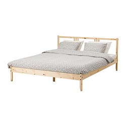 FJELLSE bed frame, Lönset, pine Length: 197 cm Footboard height: 33 cm Headboard height: 80 cm