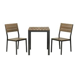 FALSTER table+2 chairs, outdoor, brown, black