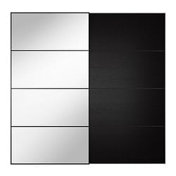 AULI / ILSENG pair of sliding doors, black-brown black-brown, mirror glass Width: 200.0 cm Built-in depth: 8.0 cm Height: 201.0 cm