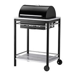 KLASEN charcoal barbecue, stainless steel Width: 74 cm Depth: 57 cm Height: 109 cm