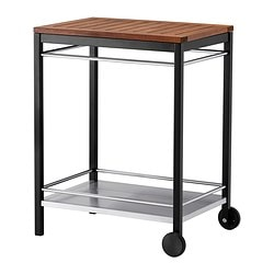 KLASEN trolley, outdoor, black stainless steel, brown stained Width: 74 cm Depth: 57 cm Height: 90 cm