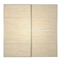 ILSENG pair of sliding doors, birch veneer Width: 200 cm Built-in depth: 8.0 cm Height: 201 cm
