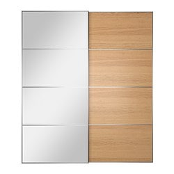 AULI / ILSENG pair of sliding doors, oak veneer, mirror glass Width: 200 cm Built-in depth: 8.0 cm Height: 236 cm