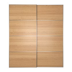 ILSENG pair of sliding doors, oak veneer Width: 200 cm Built-in depth: 8.0 cm Height: 236 cm