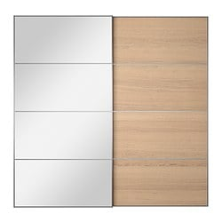 AULI / ILSENG pair of sliding doors, white stained oak veneer, mirror glass Width: 200 cm Built-in depth: 8.0 cm Height: 201 cm