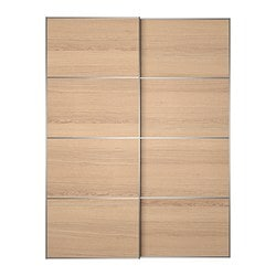 ILSENG pair of sliding doors, white stained oak veneer Width: 150 cm Built-in depth: 8.0 cm Height: 201 cm
