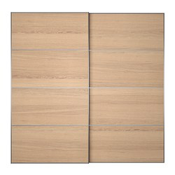 ILSENG pair of sliding doors, white stained oak veneer Width: 200 cm Built-in depth: 8.0 cm Height: 201 cm