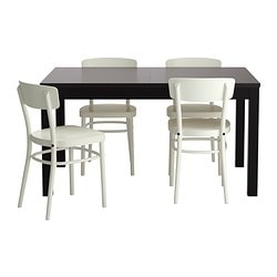 "BJURSTA /  IDOLF table and 4 chairs, black-brown, white Length: 70 7/8 "" Min. length: 55 1/8 "" Max. length: 86 5/8 "" Length: 180 cm Min. length: 140 cm Max. length: 220 cm"