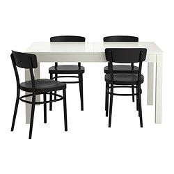 BJURSTA /  IDOLF table and 4 chairs, black, white Length: 180 cm Min. length: 140 cm Max. length: 220 cm