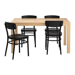 BJURSTA /  IDOLF table and 4 chairs, black, birch veneer Length: 180 cm Min. length: 140 cm Max. length: 220 cm