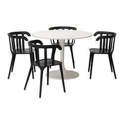 DOCKSTA /  IKEA PS 2012 table and 4 chairs, black, white Diameter: 105 cm Height: 75 cm