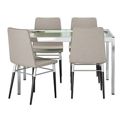 GLIVARP /  PREBEN table and 4 chairs, Tenö light grey, transparent Length: 125 cm Max. length: 188 cm Width: 85 cm