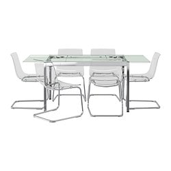 GLIVARP /  TOBIAS table and 6 chairs, transparent, transparent Length: 125 cm Max. length: 188 cm Width: 85 cm
