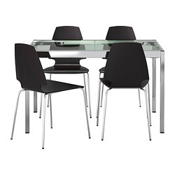 GLIVARP /  VILMAR table and 4 chairs, brown-black, transparent Length: 125 cm Max. length: 188 cm Width: 85 cm