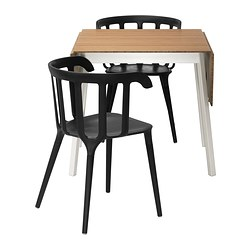 IKEA PS 2012 /  IKEA PS 2012 table and 2 chairs, black, bamboo Min. length: 74 cm Max. length: 138 cm Width: 80 cm
