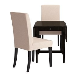 INGATORP /  HENRIKSDAL table and 2 chairs, Linneryd natural, black-brown Length: 88 cm Min. length: 59 cm Max. length: 117 cm