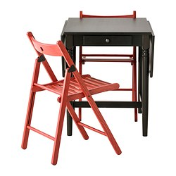 INGATORP / TERJE, Table and 2 chairs, black-brown, red