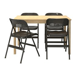 INGO / FRODE table and 4 chairs, dark grey, pine Length: 120 cm Width: 75 cm Height: 73 cm