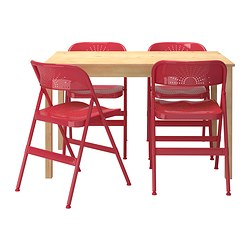 INGO / FRODE table and 4 chairs, red, pine Length: 120 cm Width: 75 cm Height: 73 cm