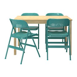 INGO / FRODE table and 4 chairs, pine, turquoise Length: 120 cm Width: 75 cm Height: 73 cm