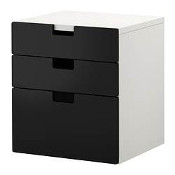 STUVA chest of 3 drawers, black Width: 60 cm Depth: 50 cm Height: 64 cm