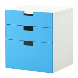 STUVA chest of 3 drawers, blue Width: 60 cm Depth: 50 cm Height: 64 cm