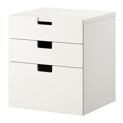 STUVA chest of 3 drawers, white Width: 60 cm Depth: 50 cm Height: 64 cm