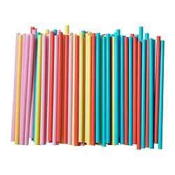 SOMMARFINT drinking straw, assorted colours Package quantity: 100 pack