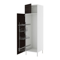 "AKURUM high cab/pull-out interior fittings, Gnosjö black, white Width: 23 7/8 "" Depth: 24 1/8 "" Height: 88 1/4 "" Width: 60.8 cm Depth: 61.2 cm Height: 224.3 cm"
