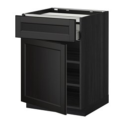 METOD /  MAXIMERA base cab f hob/drawer/shelves/door, Laxarby black-brown, black Depth: 61.6 cm Frame, depth: 60.0 cm Frame, height: 80.0 cm