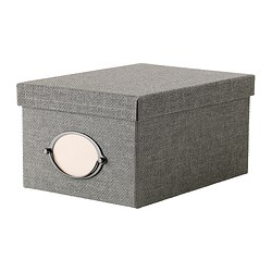 "KVARNVIK box with lid, gray Length: 8 ¼ "" Width: 11 ½ "" Height: 6 "" Length: 21 cm Width: 29 cm Height: 15 cm"