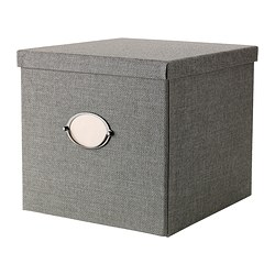 KVARNVIK, Box with lid, gray