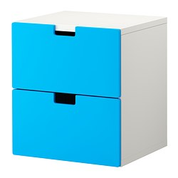 STUVA chest of 2 drawers, blue Width: 60 cm Depth: 50 cm Height: 64 cm