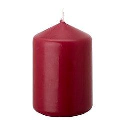 DAGLIGEN unscented block candle, wine red Diameter: 7 cm Height: 10 cm Burning time: 26 hr
