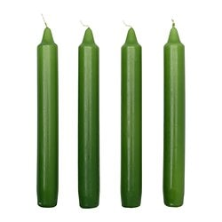 DAGLIGEN unscented candle, green Height: 18 cm Burning time: 5 hr Package quantity: 4 pack