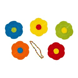 MJUKNÄVA textile decorative, assorted colours Length: 10 cm Width: 10 cm Package quantity: 5 pack
