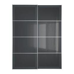 UGGDAL pair of sliding doors, grey glass Width: 150 cm Built-in depth: 8.0 cm Height: 201 cm